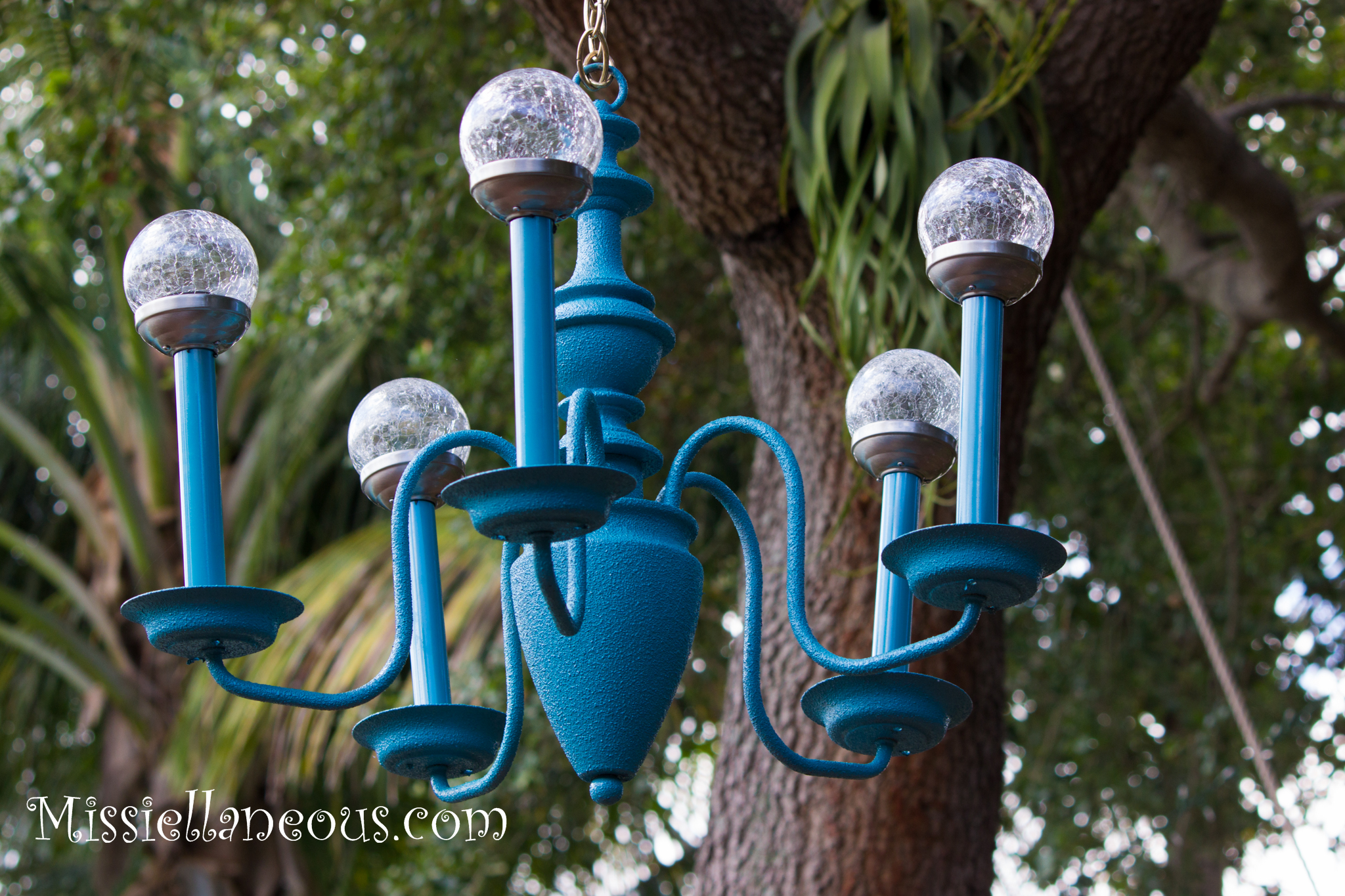 Upcycled Solar Garden Chandelier Missiellaneous